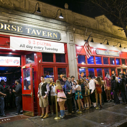 October 31, 2013 Brighton, MA The White Horse Tavern  A long line of people formed to get into a Halloween party at the White Horse Tavern in Allston, MA.   Business, 02bars, overhault  (Katherine Taylor for The Boston Globe)